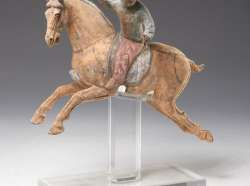 Chinese Tang style painted pottery Polo Player